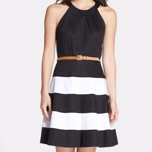 Eliza J Stripe Skirt Fit & Flare Dress Black White
